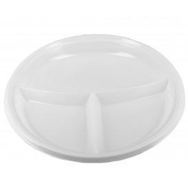 Assiette Plastique Creuse PS 220mm 3 Compartiments (6 Unités)