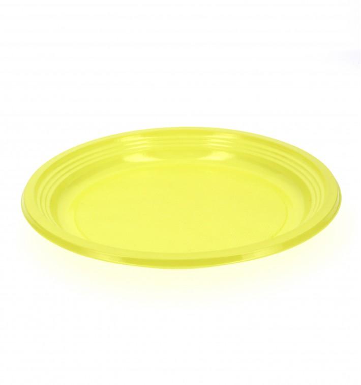 Assiette Plate Plastique Jaune 205mm (960 Unités)