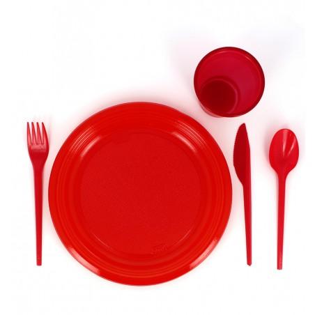 Assiette Plate Plastique Rouge 205mm (10 Unités)