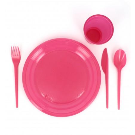 Assiette Plate Plastique Fuchsia 205mm (10 Unités)