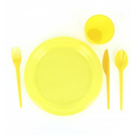 Assiette Plate Plastique Jaune 205mm (10 Unités)