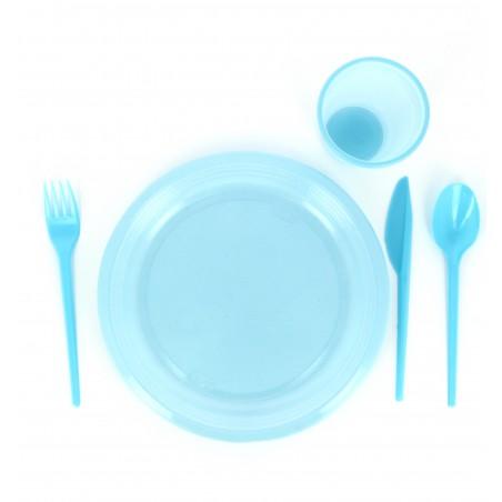 Fourchette plastique Bleu de 165mm (15 Unités)