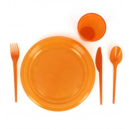 Fourchette plastique Orange de 165mm (15 Unités)