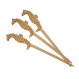 Pique en Bambou Décoré Hippocampe 90mm (100 Unités)