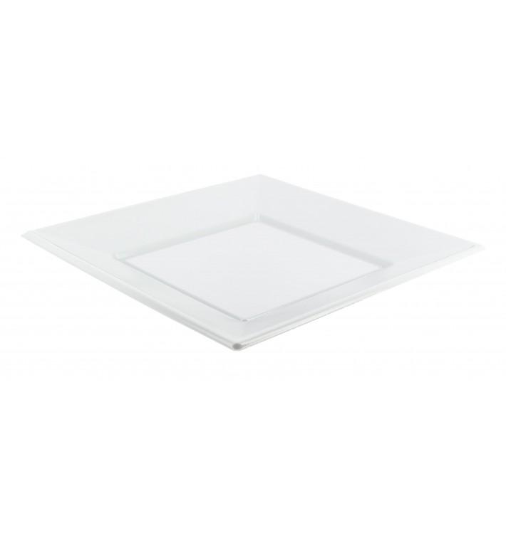 Assiette Plastique Carrée Plate Blanche 230mm (750 Utés)