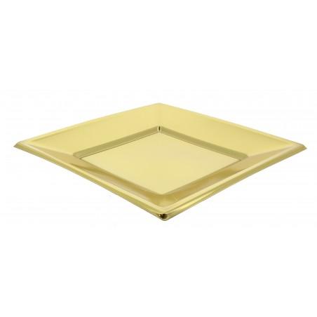 Assiette Plastique Carrée Plate Dore 180mm (5 Unités)