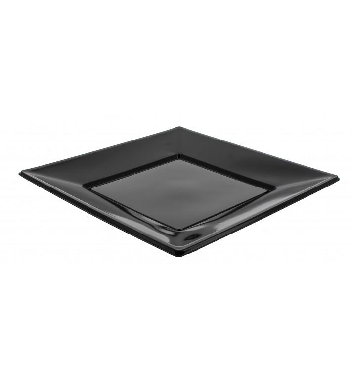 Assiette Plastique Carrée Plate Noire 230mm (5 Unités)