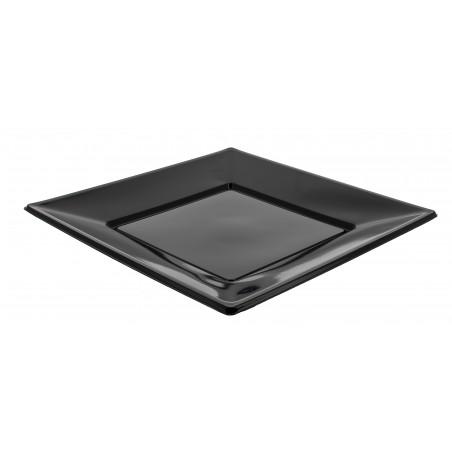 Assiette Plastique Carrée Plate Noire 170mm (375 Utés)