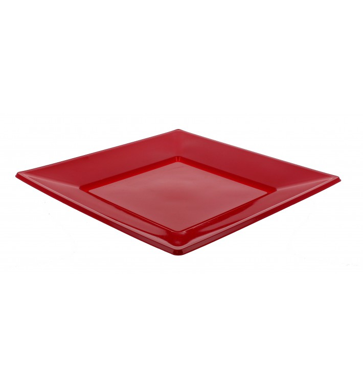 Assiette Plastique Carrée Plate Bordeaux 230mm (750 Utés)