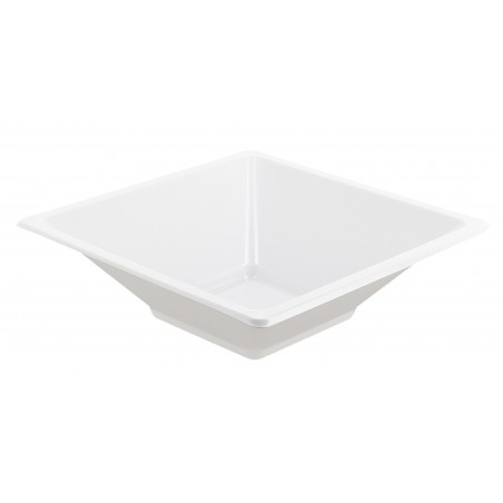 Bol carré en plastique blanc 120x120x40mm (12 Unités)