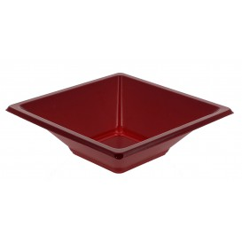 Bol carré plastique bordeaux 120x120x40mm (1500 Unités)