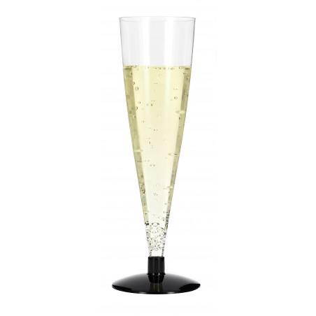 Flûte Jetable à Champagne Pied Noir 150ml (6 Unités)