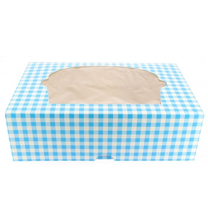 Boîte pour 6 Cupcakes Bleu avec support (20 Unités)