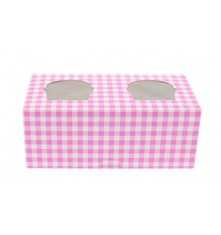 Boîte pour 2 Cupcakes Rose avec insert (160 Unités)