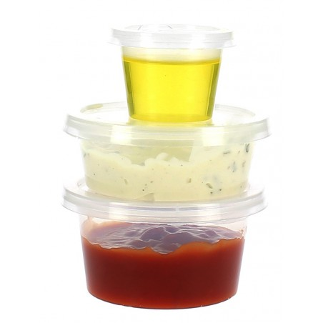 Pot à sauces en plastique avec COUVERCLE 85ml (1.000 Utés)