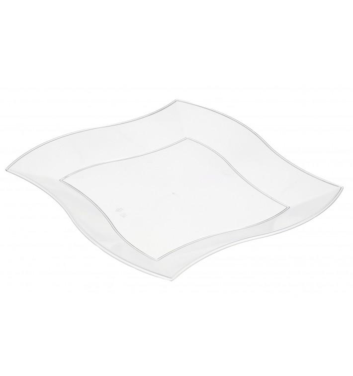 Assiette Plastique Plate Ondulée Blanche 180mm (6 Unités)