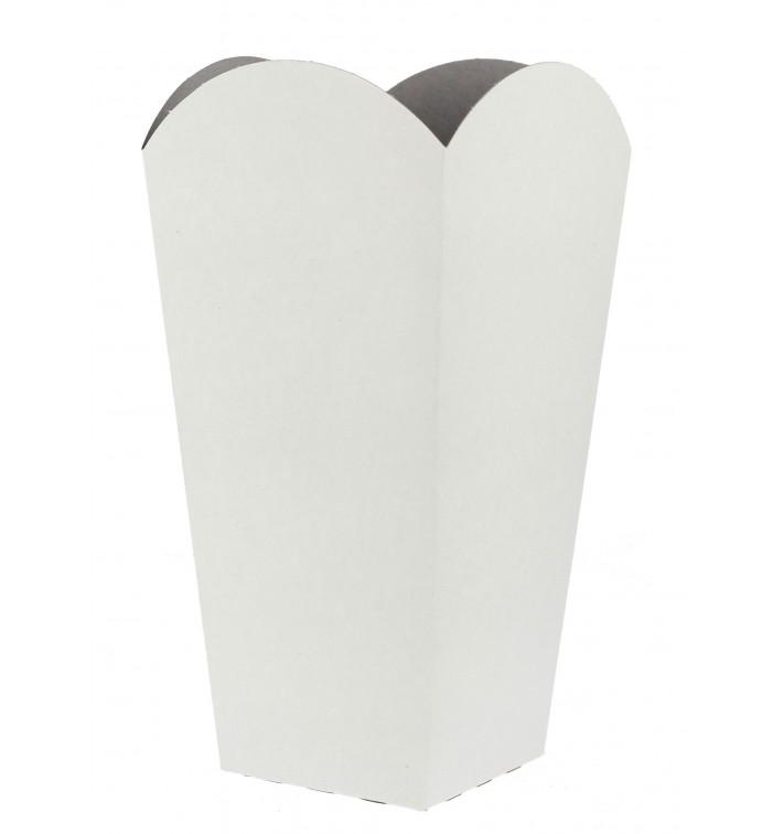 Etuis à Pop-Corn Moyen Blanc 90 gr 7,8x10,5x18cm (25 Utés)