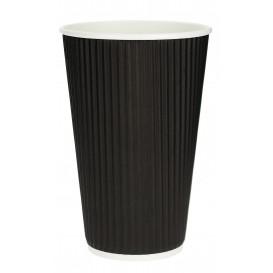 Gobelet Carton 16oz/480ml Ondulé Noir Ø8,7cm (25 Unités)