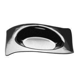 Assiette Dégustation Flat Noir 8x6,6 cm (50 Utés)