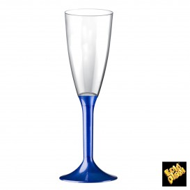 Flûte Champagne Plastique Pied Bleu Perlé 120ml (20 Utés)