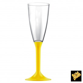 Flûte Champagne Plastique Pied Jaune 120ml (20 Unités)