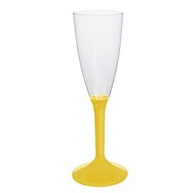 Flûte Champagne Plastique Pied Jaune 120ml (200 Unités)