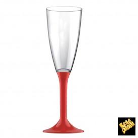 Flûte Champagne Plastique Pied Rouge 120ml (20 Utés)