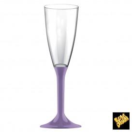 Flûte Champagne Plastique Pied Lilas 120ml (20 Unités)