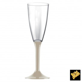 Flûte Champagne Plastique Pied Beige 120ml (200 Unités)