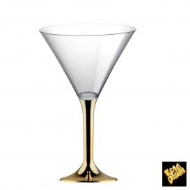 Flûte en Plastique Cocktail Pied Or Chrome 185ml (20 Unités)