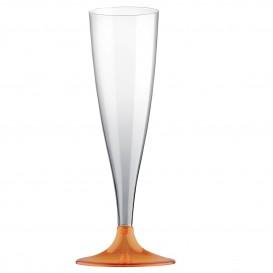 Flûte Champagne Plastique Pied Orange Transp. 140ml 2P (20 Utés)