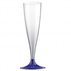Flûte Champagne Plastique Pied Bleu 140ml 2P (400 Utés)