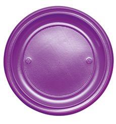Assiette Plastique Plate Violette PS 220mm (30 Unités)