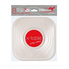 """Assiette Plastique PP """"X-Table"""" Carré Plate Perle 180mm (8 Unités)"""