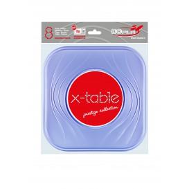 """Assiette Plastique PP """"X-Table"""" Carré Plate Violet 230mm (120 Unités)"""