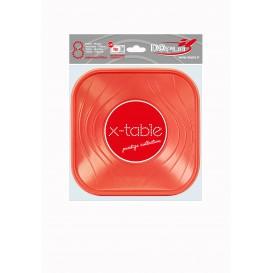 """Assiette Plastique PP """"X-Table"""" Carré Plate Orange 180mm (120 Unités)"""