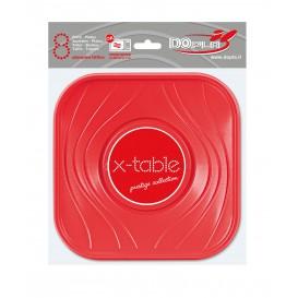 """Assiette Plastique PP """"X-Table"""" Carré Plate Rouge 180mm (120 Unités)"""