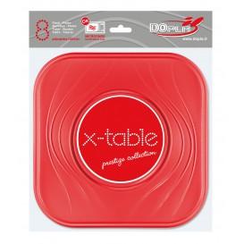 """Assiette Plastique PP """"X-Table"""" Carré Plate Rouge 230mm (8 Unités)"""