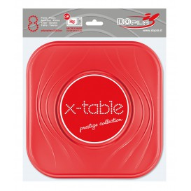 """Assiette Plastique PP """"X-Table"""" Carré Plate Rouge 230mm (120 Unités)"""