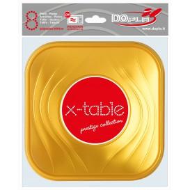 """Assiette Plastique """"X-Table"""" Carré Plate Or PP 180mm (8 Unités)"""