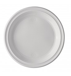 Assiette Plastique Blanche Fond 205mm (100 Unités)
