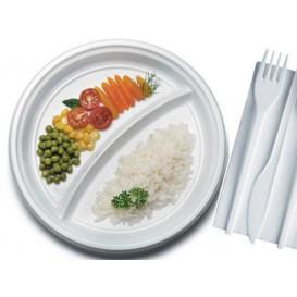 Assiette Plastique PS Plate 2 Compartiments Blanche 220mm (1400 Unités)