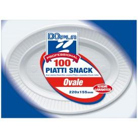 Assiette Plastique PS Ovale Plate Blanche (100 Unités)
