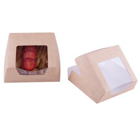 Boîte en Carton Kraft avec Fenêtre 120x120x40mm (500 Utés)