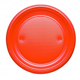 Assiette Plastique PS Plate Orange Ø170mm (50 Unités)