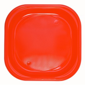 Assiette Plastique PS Carrée Orange 200x200mm (30 Utés)