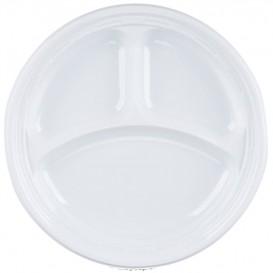 """Assiette en Plastique PS """"Famous Impact"""" 3 C. Blanc Ø230mm (125 unités)"""