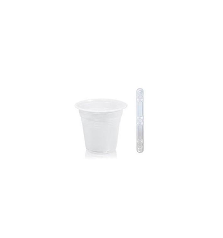 Pack Gobelet 80ml Blanc et Touillette 90 mm Transparente
