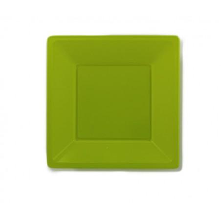 Assiette Plastique Carrée Plate Pistache 170mm (300 Utés)