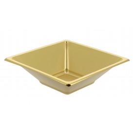 Bol carré en plastique doré 120x120x40mm (750 Utés)